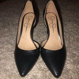 Jessica Simpson black leather heels